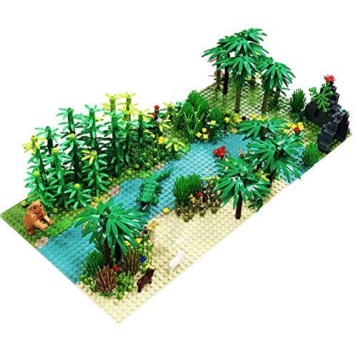 32 x 32 puntos clásicos platos base tropical lluvioso clima verde selva bloques de construcción selva tropical animal hierba árbol Moc niños juguete regalo mayoristas
