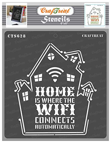 CrafTreat Home Decor Stencils for painting on Wood - Home Wifi Quote Stencil - 6x6 Inches -Family Stencils for Home Decor - DIY Home Decor Stencils With Quotes - Quote Stencils for Painting on Wood