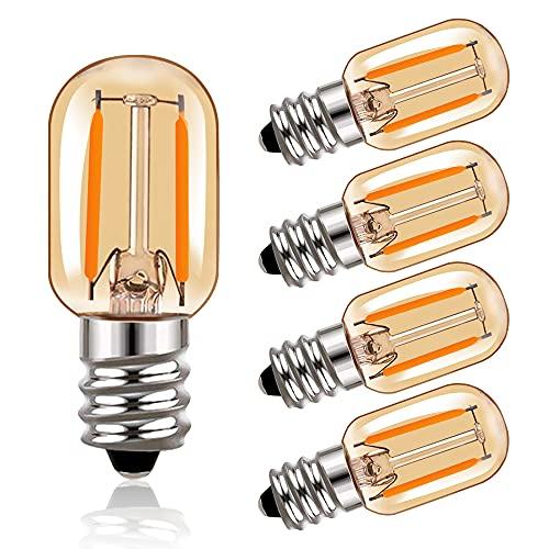 Bombilla de filamento LED T22 Bombillas tubulares Edison de vidrio ámbar Vintage E14 220V, equivalente a 10 vatios 2200K Bombillas blancas ultra cálidas, 100 lúmenes no regulables, paquete de 5