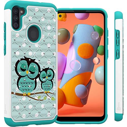 CoverON Diamond Aurora Series for Samsung Galaxy A11 Case, Bling Hybrid Rhinestones Phone Cover - Owl