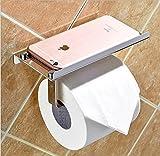 Klebender Toilettenpapierhalter mit Regal, YoyoKit Edelstahl toilettenpapier rollenhalter klopapierhalter ohne bohren für badezimmer texturierte und glatte Wände,Glastür,Fliesen,Wallpaper