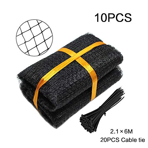 JFZS 10PCS Garden Netting Garden Anti Bird Pond Netting for Plant Protection with 20 Cable Ties (2.1x6M)