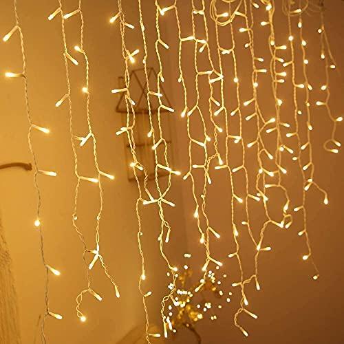 10m LED Lichterkette Eisregen Lichtervorhang Außen/Innen mit 400 LEDs Warmweiß and 8 Modi für Garten Halloween Party Weihnachten