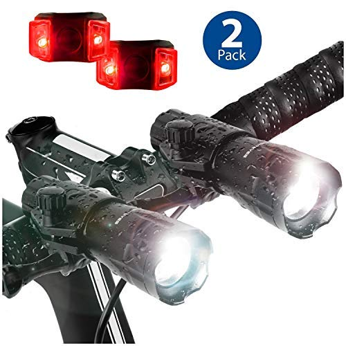 Bright Eyes 2-Pack - Aircraft Aluminium Waterproof 300 Lumen LED Bike Light Set (Headlight, Taillight)