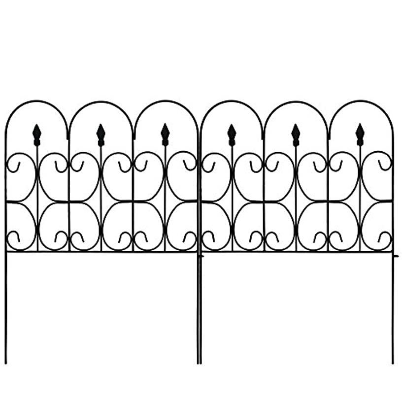 Amagabeli Decorative Garden Fence 32in x 10ft Outdoor Coated Metal Rustproof Landscape Wrought Iron Wire Border Folding Patio Fences Flower Bed Fencing Barrier Section Panels Decor Picket Edging Black