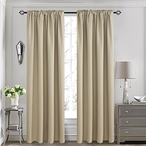 Aquazolax Readymade Back Tab Thermal Insulated Blackout Curtains Drapes for Office, Set of 2 Panels, W52 x L84, Khaki