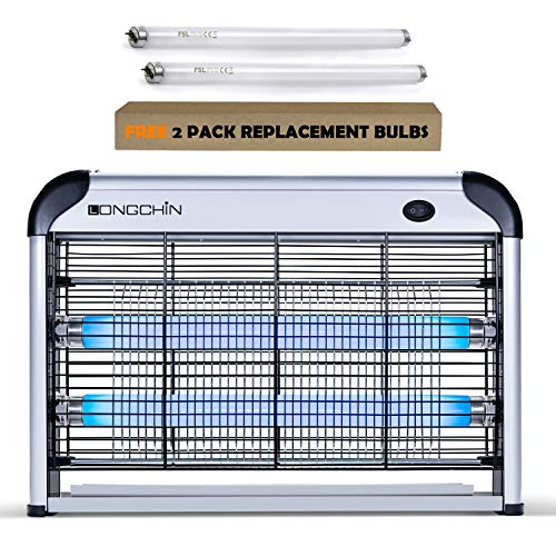Longchin Indoor Electric Insect Killer & Bug Zapper(20W), Mosquito, Bug, Moth, Fly Killer - Powerful 2800V Grid - 2-Pack Replacement Bulbs Included - for Residential & Commercial Indoor Use Only