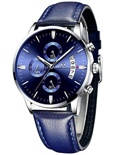 MEGALITH Herrenuhr Militär Blau Chronographen Sport Wasserdicht Leder Armbanduhr Design Business Datum Modisch Analog Uhren