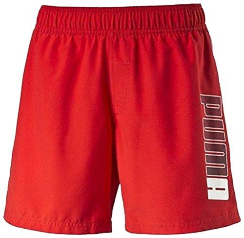 PUMA Active Beach Shorts M - Pantalón Corto para niño, Color Rojo/Blanco, Talla 140