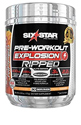 Six Star Explosion Ripped Pre Workout, Powerful Pre Workout Powder with Extreme Energy