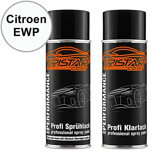 TRISTARcolor Autolack Spraydosen Set für Citroen EWP Blanc Banquise/Polar Weiss Basislack Klarlack Sprühdose 400ml