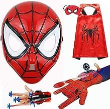 HSSKJ Kids Superhero Dress Up Costumes - Satin Capes Felt Masks LED Light Eye Mask and 2 Toy Transmitter