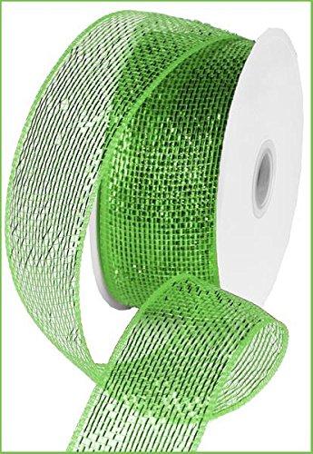 Metallic Poly Deco Mesh Ribbon (2.5' x 25 Yards, Lime Green Metallic) : RS200450