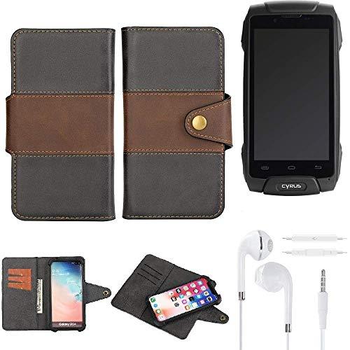 K-S-Trade® Handy-Hülle Schutz-Hülle Bookstyle Wallet-Case Für Cyrus CS 30 + Earphones Bumper R&umschutz Schwarz-braun 1x