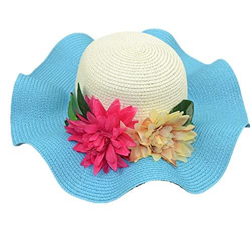 Sombreros Paja Sombrero Playa Sombrero de Paja Sombrero de Paja Sombreros de Paja de Mujer para el Verano Sombreros de Verano Sky Blue,OneSize