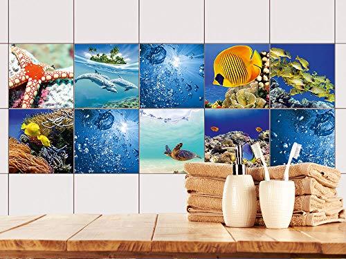 GRAZDesign tegelstickers keuken onderwater, tegelfolie vissen, tegels plakken koraal 20x20cm Set 30 stuks