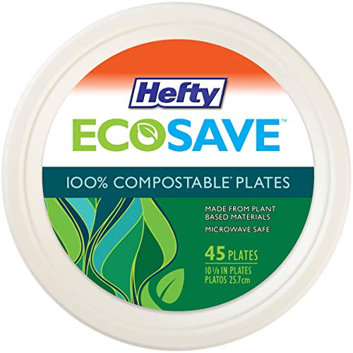 Hefty Round 10 Inch 100% Compostable Paper Plate, 45 Count