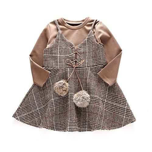 Gyratedream Herfst Baby Meisje Lange Mouw Katoen T-Shirt Blouse Strap Plaid Print Rokken met Ball Design Casual Outfits Set