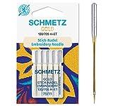 SCHMETZ Nähmaschinennadeln 5 Gold Stick-Nadeln