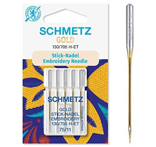 SCHMETZ Nähmaschinennadeln 5 Gold Stick-Nadeln | 130/705 H-ET | Nadeldicke: 75/11| geeignet für das Sticken mit Stickmaschinen und das Nähen mit alle gängige Haushalts-Nähmaschinen