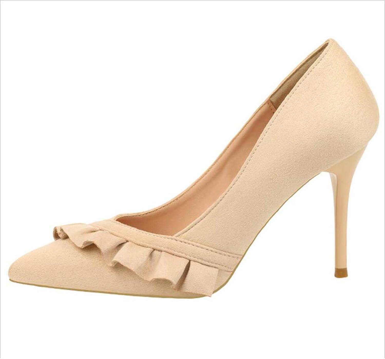 shoes Court shoes Women's shoes Block Heel High Heel Pumps Solid color Suede Single Haiming (color   Apricot, Size   36)