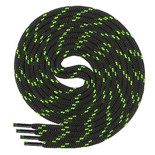 Di Ficchiano runde SCHNÜRSENKEL für Arbeitsschuhe und Trekkingschuhe - sehr reißfest - ø ca. 4,5 mm, Polyester - SP-01-black/n.green-150