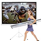 TV Projector Screen with Stand Foldable Tripod Movie Screen for Home Theater Cinema Wedding Party Office Presentation (120')