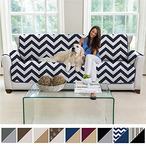 MIGHTY MONKEY Premium Reversible X-Large Oversized Sofa Protector for Seat Width up to 78 Inch, Furniture Slipcover, 2 Inch Strap, Couch Slip Cover Throw for Pets, Dogs, Cats, Sofa, Chevron Navy White