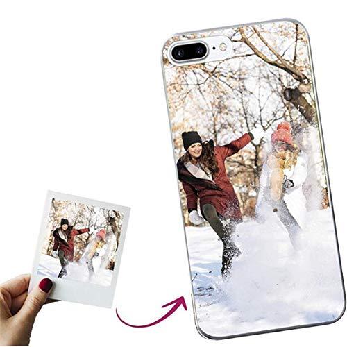 Mookase Funda para iPhone 8 Plus / 7 Plus Personalizada para TU MÓVIL con Imagen O Texto, Carcasa Personalizable, Gel Flexible, Borde Trasparente, Regalo Original