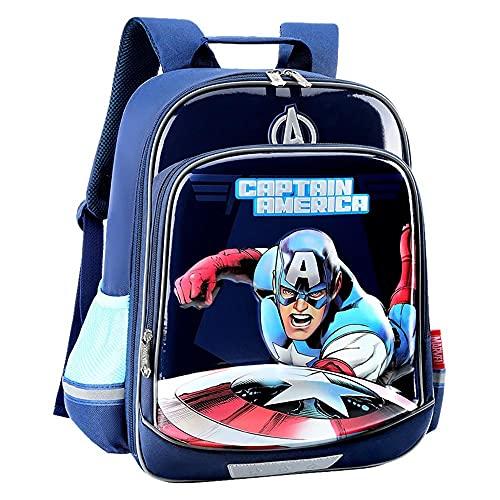 BCCDP Marvel Avengers Mochila Niño,Mochila de Viaje,Mochila Escolar, Mochila Multifuncional,Marvel Captain America Elementary School Estudiantes de Grado 1-3-4 Mochila Ligera para niños