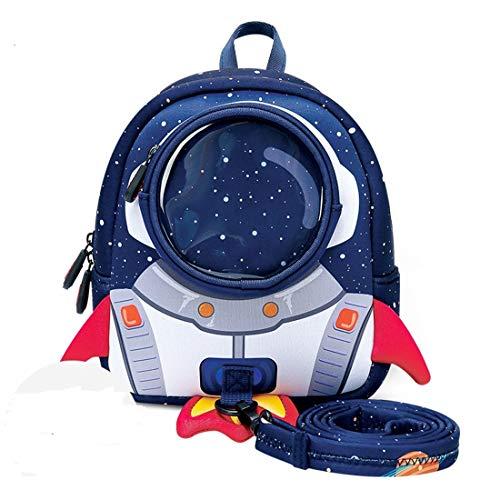 AKAUFENG Kindergarten Rucksack Baby-Kindergarten Kleinkind Tasche 3D-Rakete Design Rucksack für Kind Baby