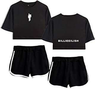 AMOMA Billie Eilish Shorts and Crop Top Sets Casual T-Shirt Tracksuit Fashion Streetwear for Women and Girls