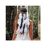 IYOU - Diadema de pluma, hippie bohemia con cascos de años 20, cadena de cabeza para el pelo, accesorios de peluquería para mujeres y niñas