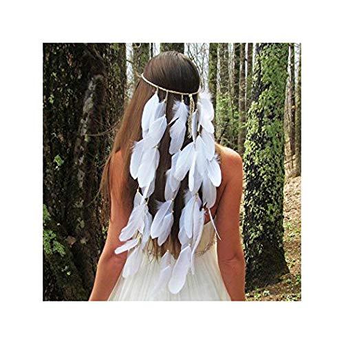 IYOU Idian Feather Hoofdband Hippie Boho Hoofdstuk 1920 Hoofd Ketting Haarstukje Sieraden Accessoires Headdress Masquerade voor Vrouwen en Meisjes