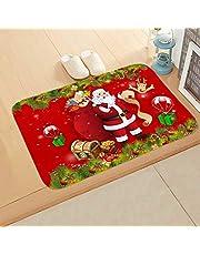Ramble Alfombrilla Decorativa navideña de 60 * 40 cm Antideslizante para Vacaciones, Bienvenida, Felpudo con Copo de Nieve navideño para el hogar