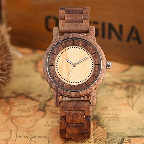 yuyan Walnut Wooden Watch Cuarzo Diseño Simple para Hombres Mujeres Creative Luminoso Puntero dial Durable Madera Correa de Madera, Respetuoso con el Medio