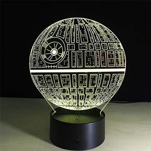 Death Star Night Light Optische visuelle Folie Plattform Farbwechsel Touch-Schalter Tischleuchte