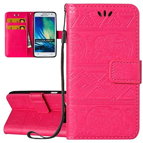 ISAKEN Custodia Samsung Galaxy A3 2015 Flip Cover Sbalzato Embossed Bookstyle PU Pelle Case Protettiva Flip Portafoglio Waller Caso con Supporto di Stand/Carte Slot/Chiusura - Elefante: ROSEO