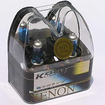 SAISDON- H11 55W 12V 6000K Hid Headlight Halogen Bulbs Kobo Blue Tint White Xenon Super Gas Charged [1 Set  1 Pair ][1009]