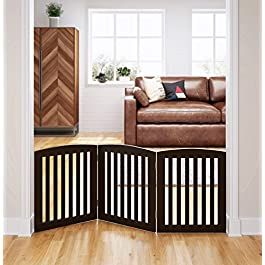 PAWLAND Wooden Freestanding Foldable Pet Gate for Dogs, 24 inch 4 Panels Step Over Fence, Dog Gate for The House, Doorway, Stairs, Extra Wide