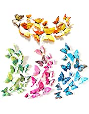 XUBX 48 stuks 3D Mode Vlinder Muursticker, Dubbele laag Simulatie Kleurrijke Vlinder Muurschildering Stickers met Zelfklevende stip + magneet, wanddecoratie, DIY-Art Kamer Slaapkamer Decor, 4 kleuren