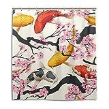 mydaily Koi Fisch Sakura Dusche Vorhang 167,6x 182,9cm, schimmelresistent und Wasserdicht Polyester Dekoration Badezimmer Vorhang