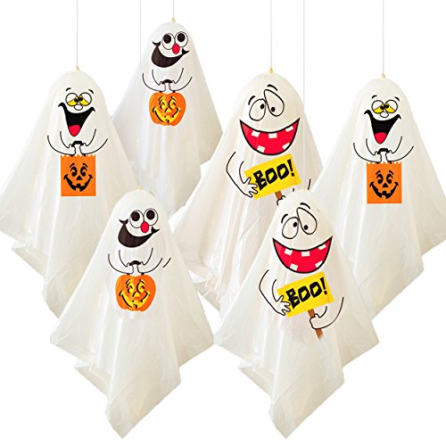 6 Lustige Halloween Geister - die gruselige hängende Gespenster Dekoration für Innen & Außen - Party Deko