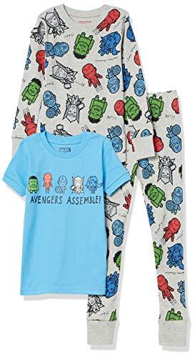 Spotted Zebra Disney Star Wars Snug-Fit Cotton Pajamas Sleepwear Sets, Conjunto de 3 Piezas de los Vengadores de Marvel, 8 años