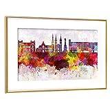 artboxONE Poster mit Rahmen Gold 30x20 cm Linz Skyline in