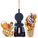 Professional Electric Bubble Waffle Maker Non Stick for Egg Puff and Hong Kong Waffles 360 Rotated Black carbon gold Stainless steel egg Waffle Iron with Teflon