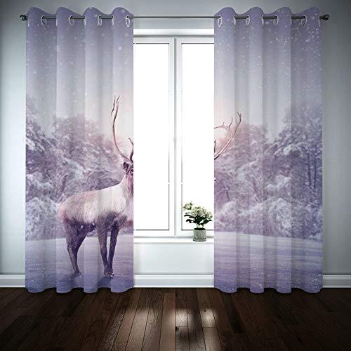 Kihomedy Cortinas de dormitorio para hombres, Deer With Forest Grey Tratamiento de ventana para sala de estar/guardería 201 x 200 cm