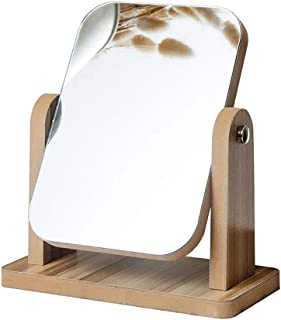 AINIYF Wooden Tabletop Makeup Mirror Decorative Table Mirror 360 Rotated Rectangular Makeup Mirror for Bedroom Table (Size : M)