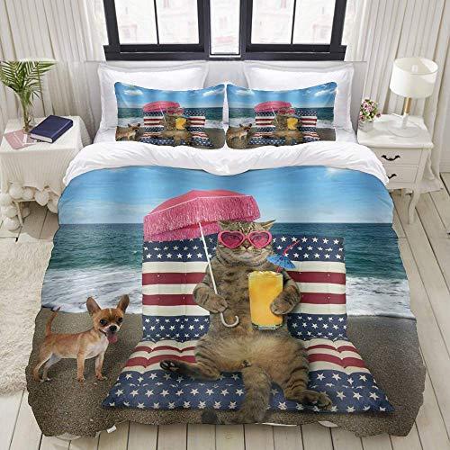 Juego de funda nórdica de fácil cuidado y 2 fundas de almohada, gafas de sol divertidas para gatos, verano, océano, playa, vacaciones, jugo de naranja, sombrilla roja, mar animal, elegante funda de ed