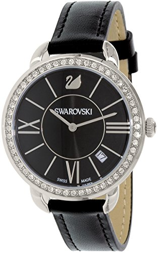 Swarovski Reloj de cuarzo suizo de cuero negro 5172151 para mujer